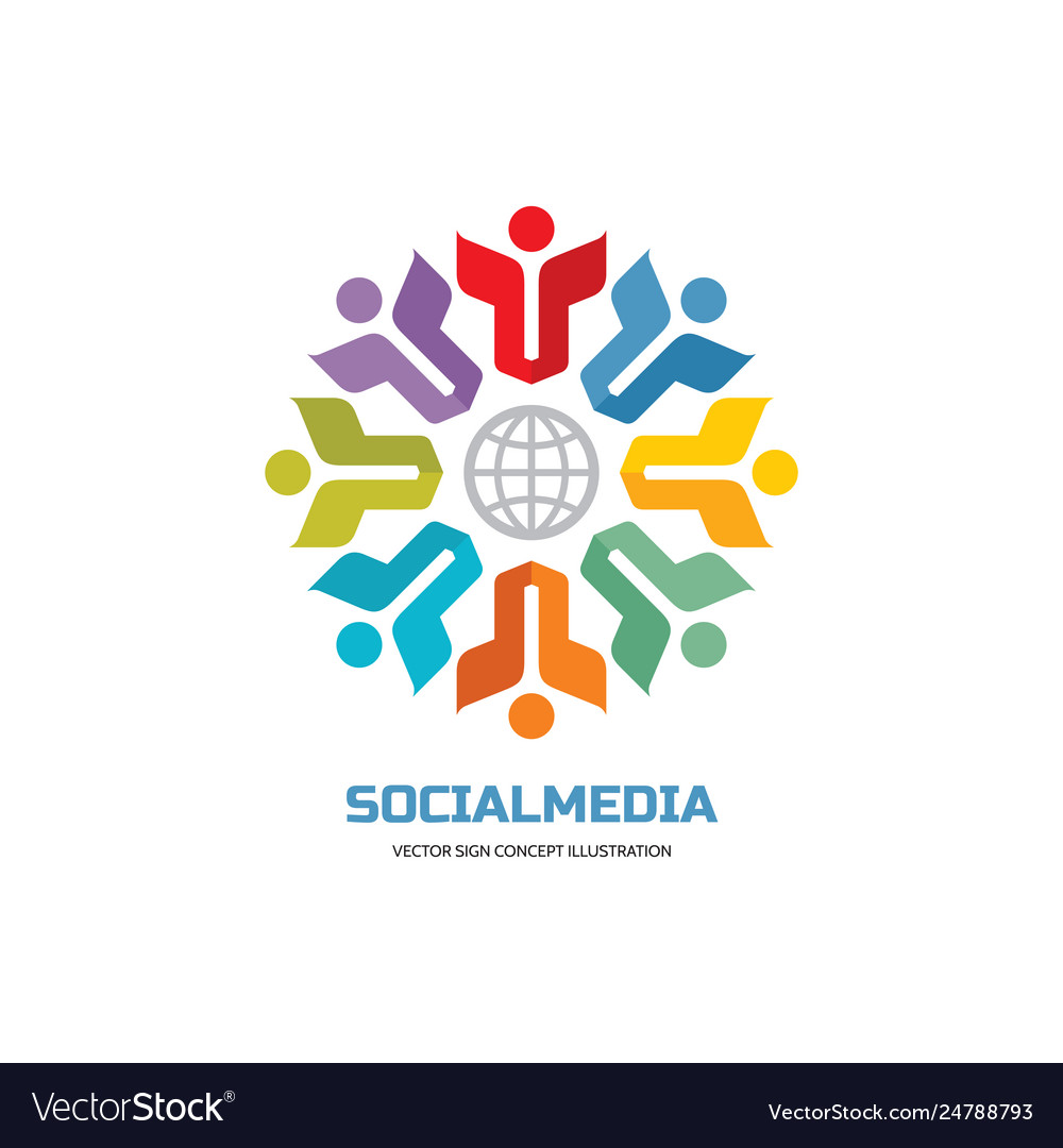 Social media world - logo sign template