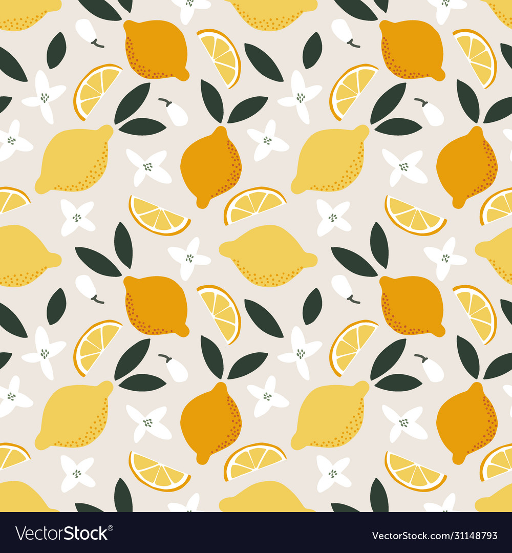 Summer seamless pattern whole and cut juicy