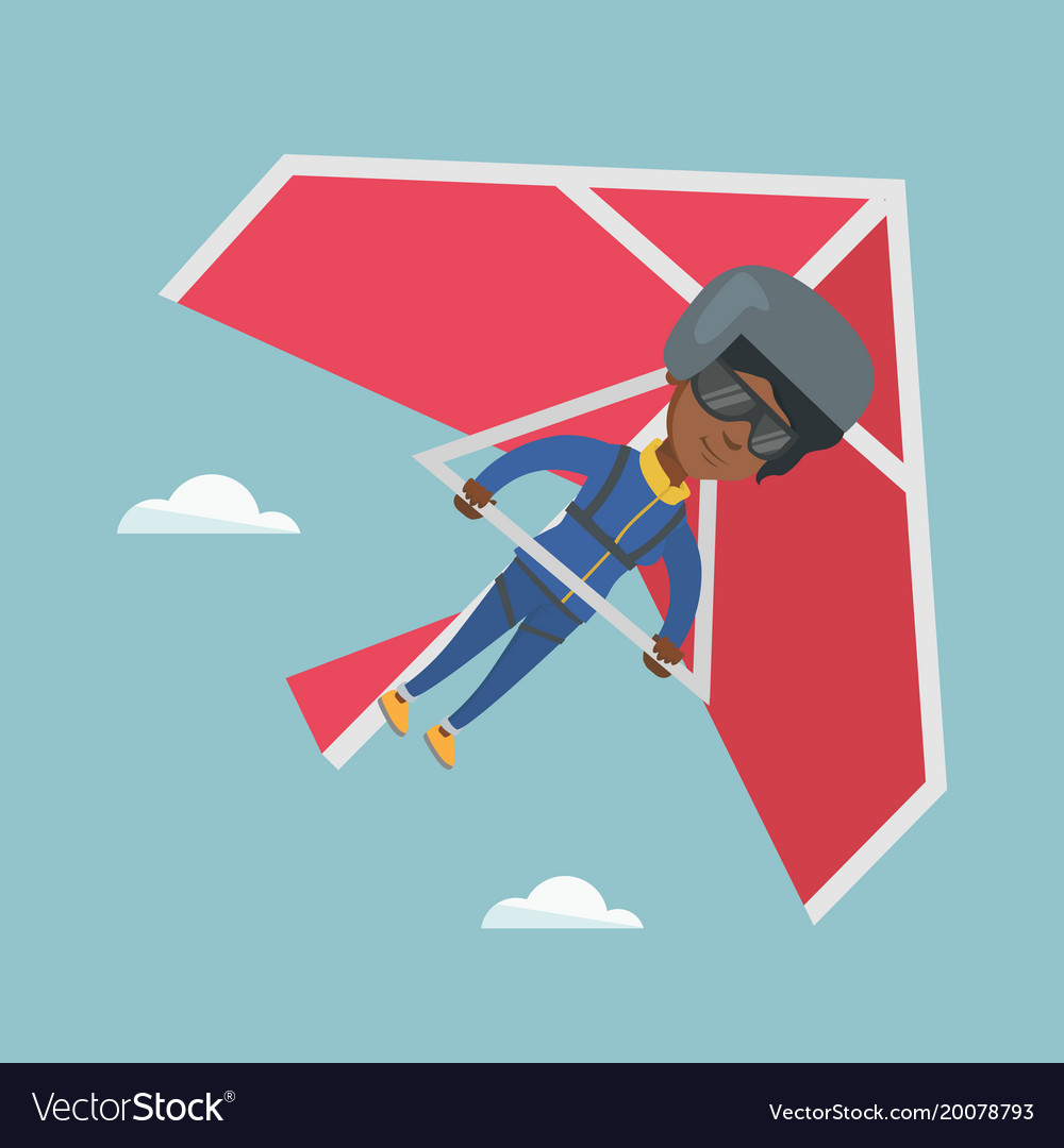 Young african-american woman flying on hang-glider