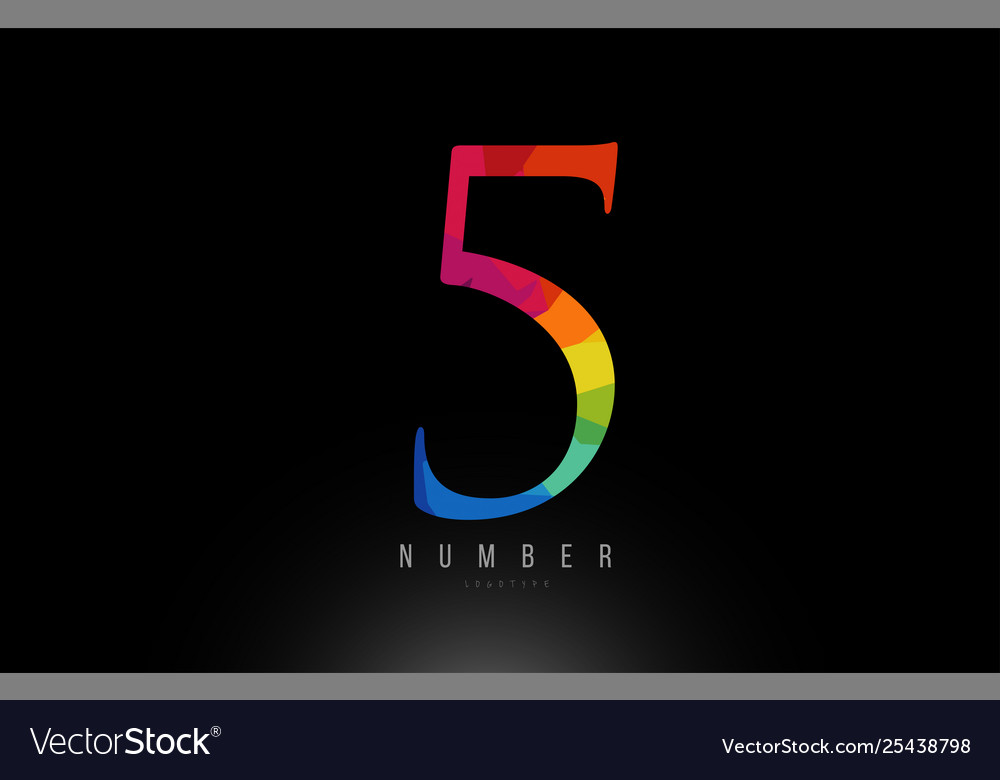 5 number rainbow colored logo company icon design