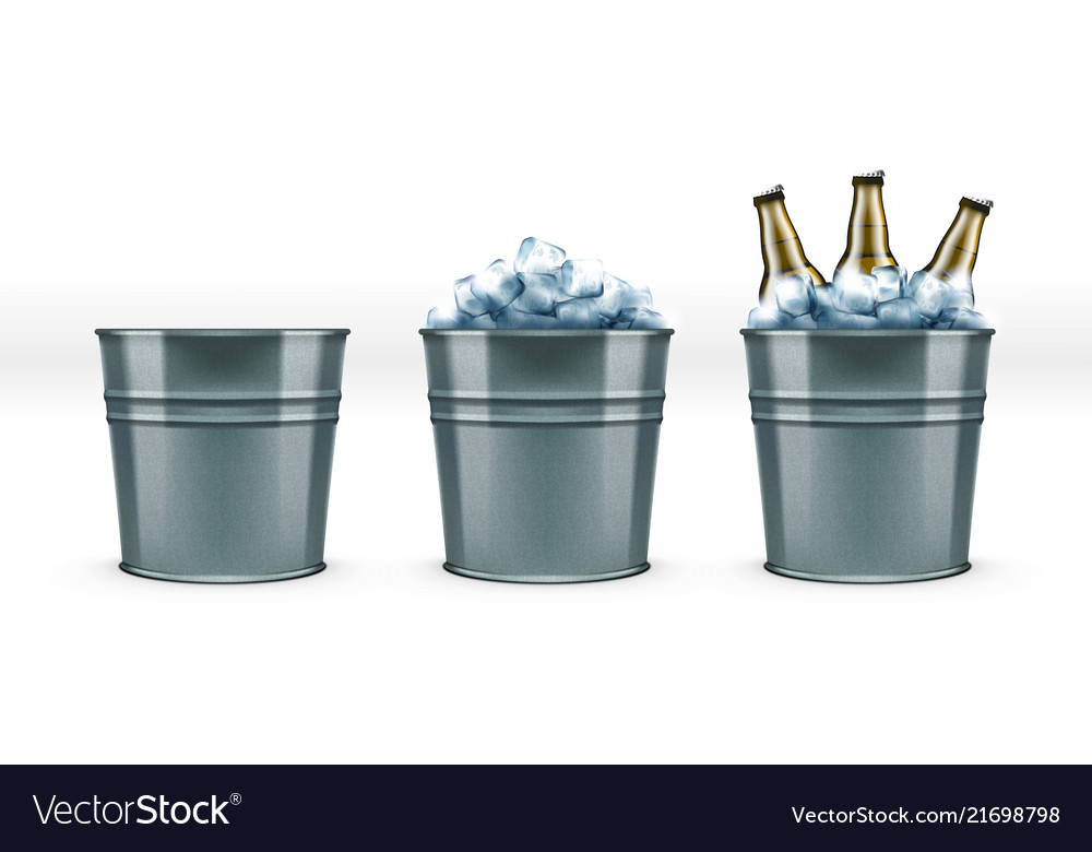 Beer bottles in metal bar ice bucket for cool