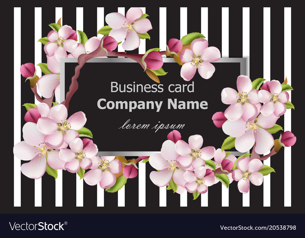 Business card cherry blossom flowers on striped Vector Image