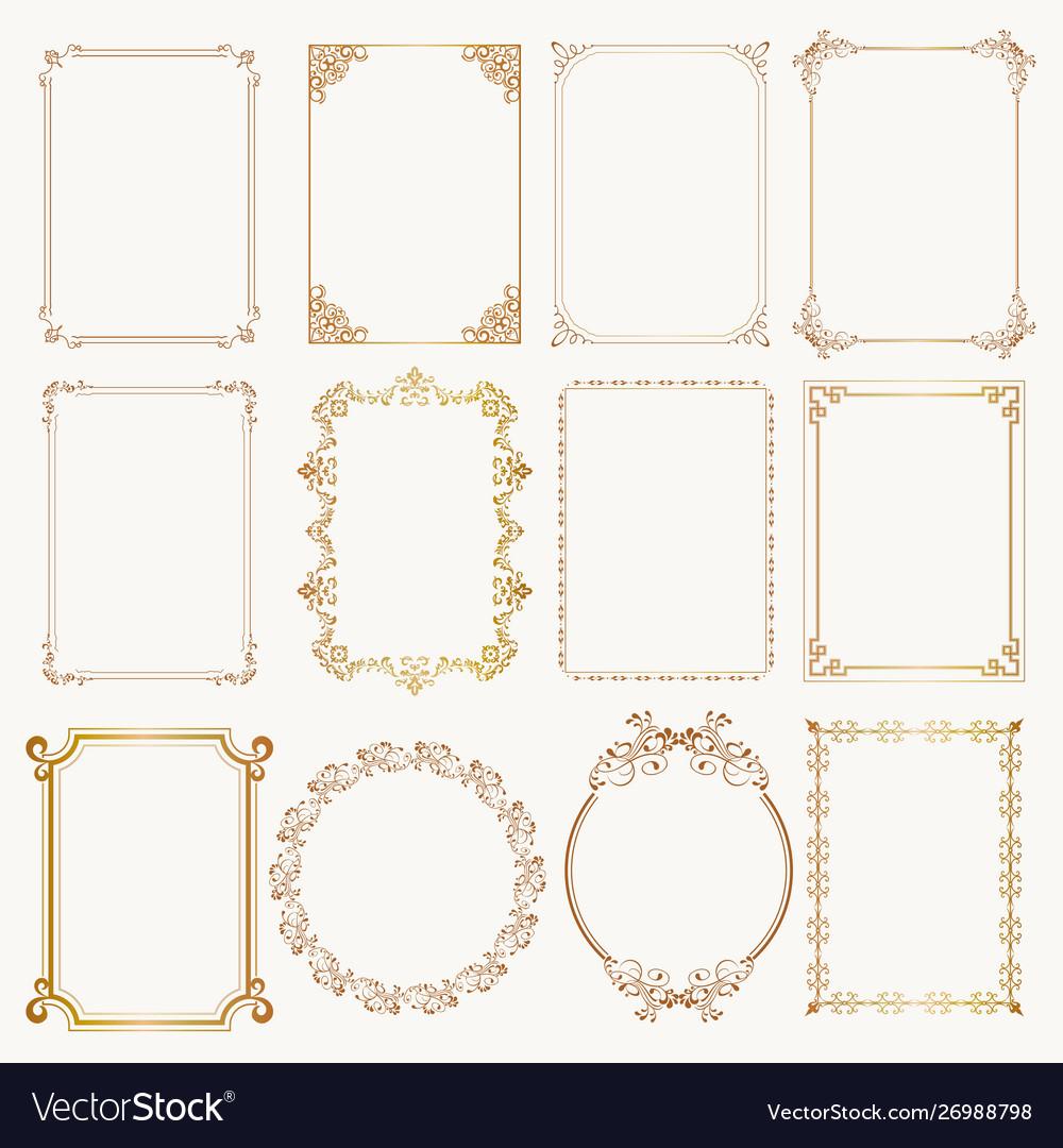 Calligraphic frame set borders corners ornate