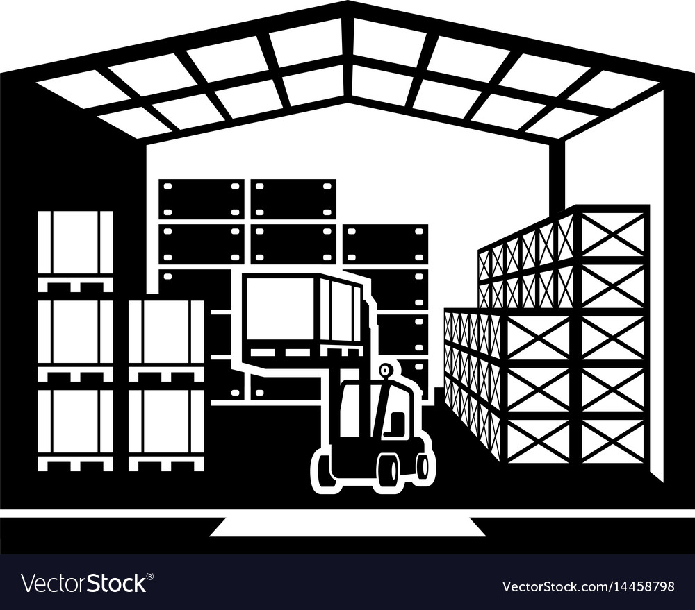 Forklift transports pallets in warehouse vector image