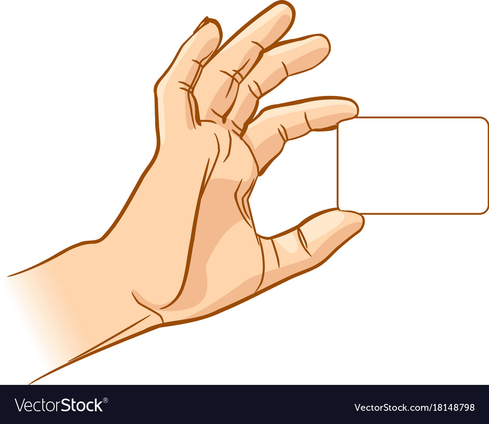 Hand holding an empty business card Royalty Free Vector