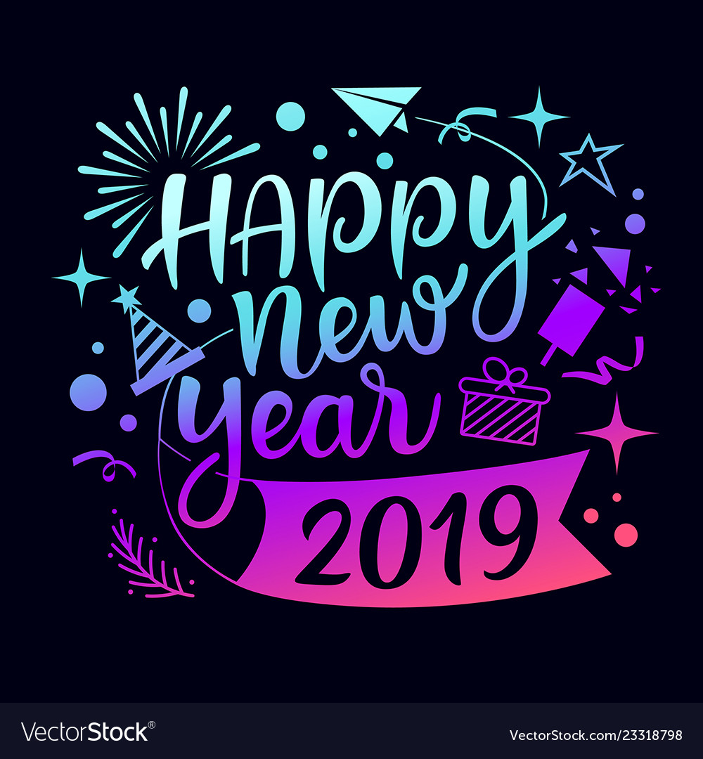 Happy new year 2019 message with icons
