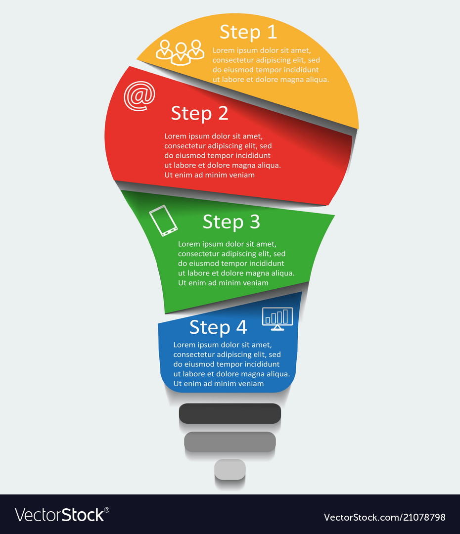 Light bulb infographic template for diagra on