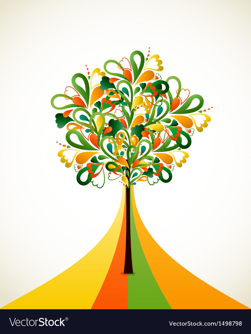 Painting abstract tree on colorful strips Vector Image