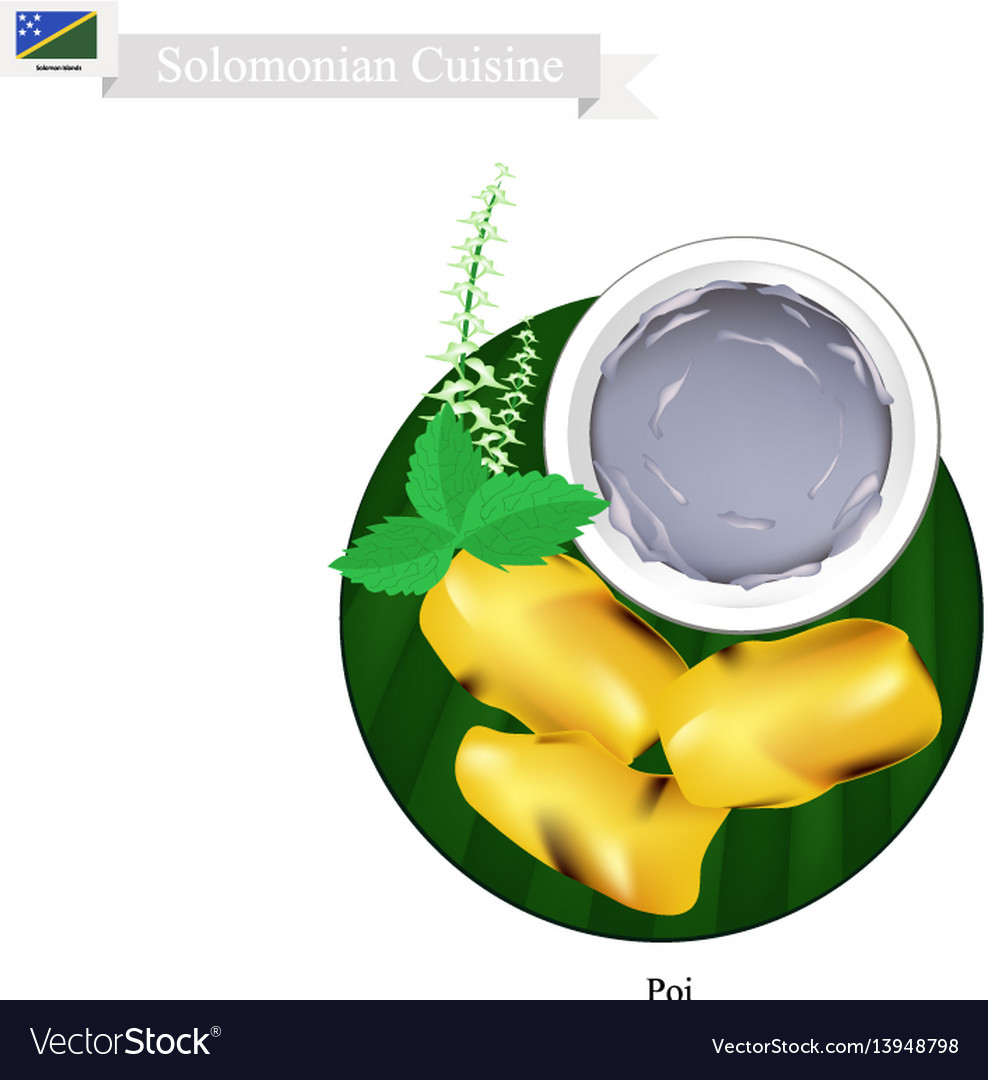 Poi or traditional solomonian soup or solomonian vector image