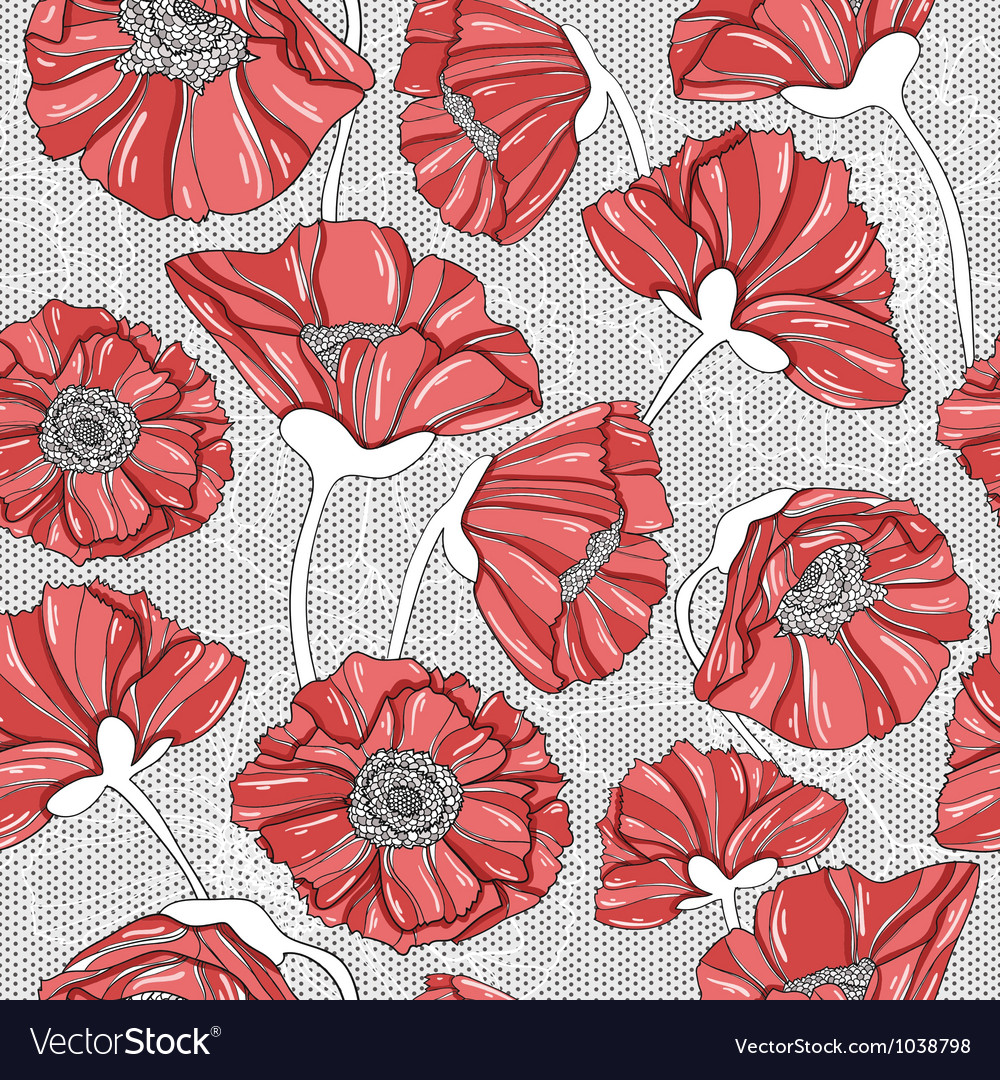 Seamless floral poppy pattern