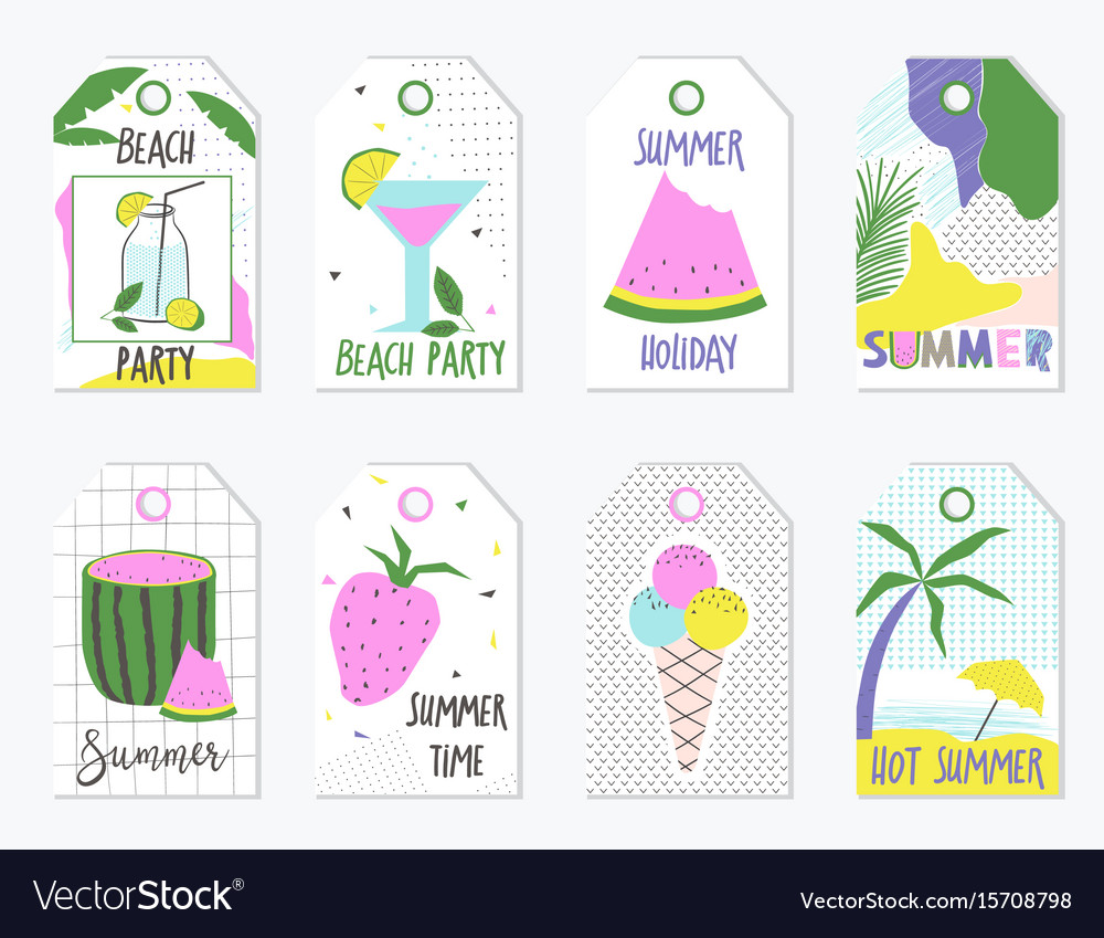 Set of summer gift tags and labels