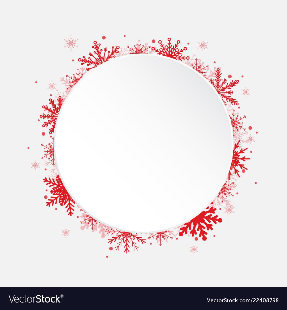 White circle snowflakes new year christmas frame