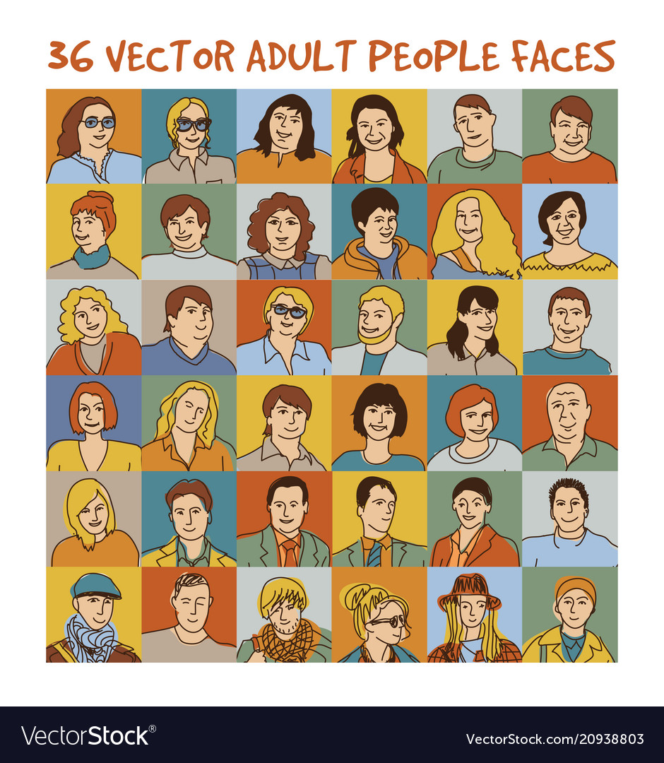 Adult people color faces characters set