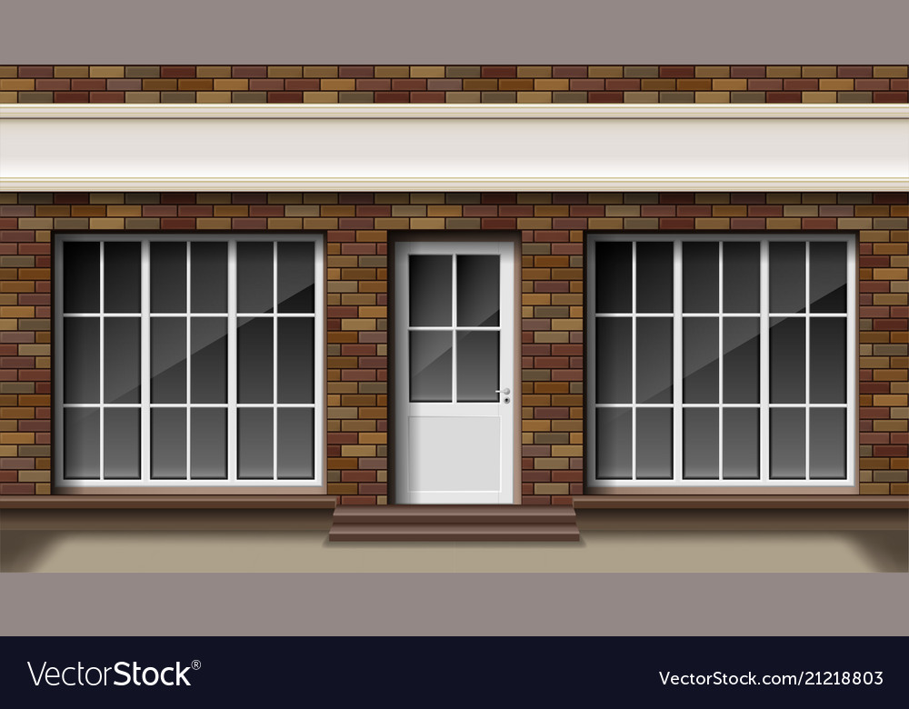 Brick small 3d store or boutique front facade