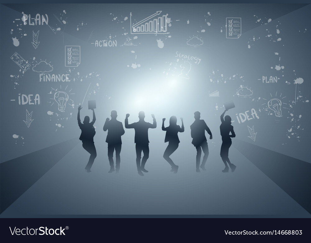 Business people group cheerful silhouette raised