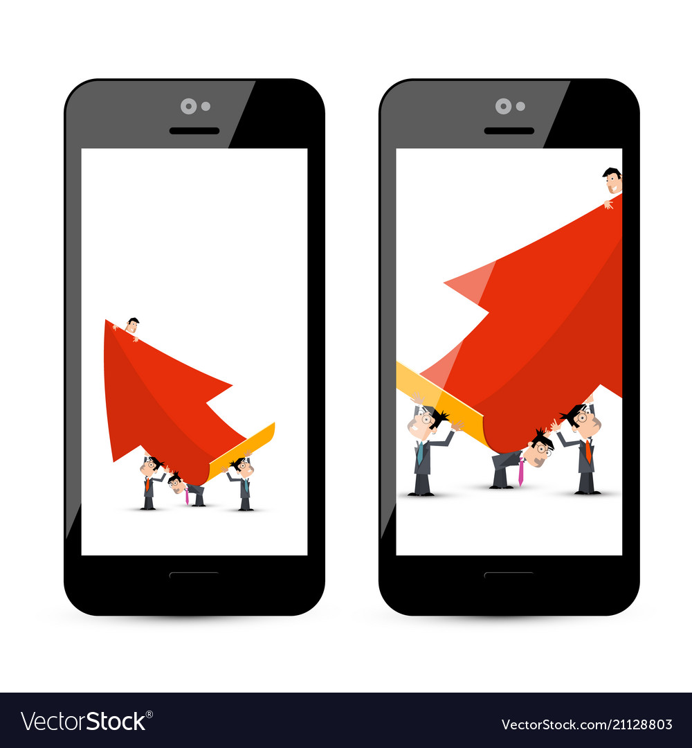 Businessmen with big red arrow on smart phone vector image