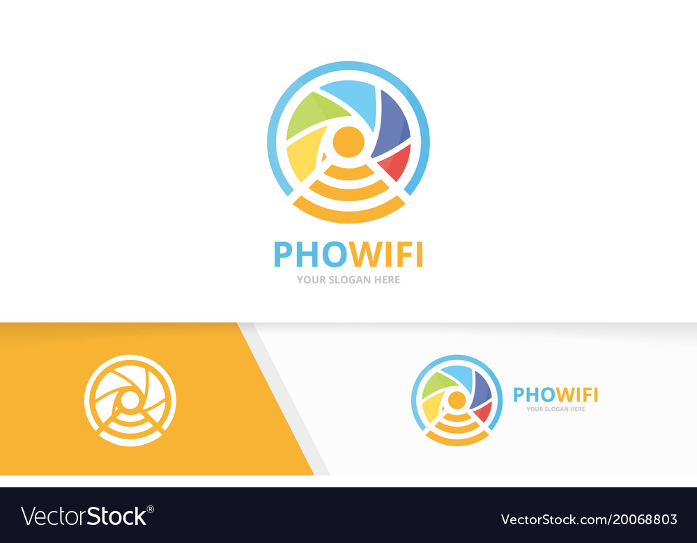 Camera shutter and wifi logo combination vector image