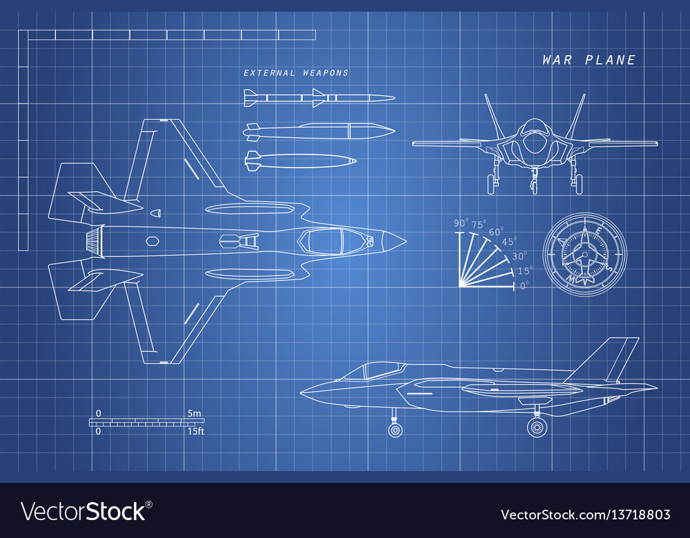 Drawing military aircraft vector