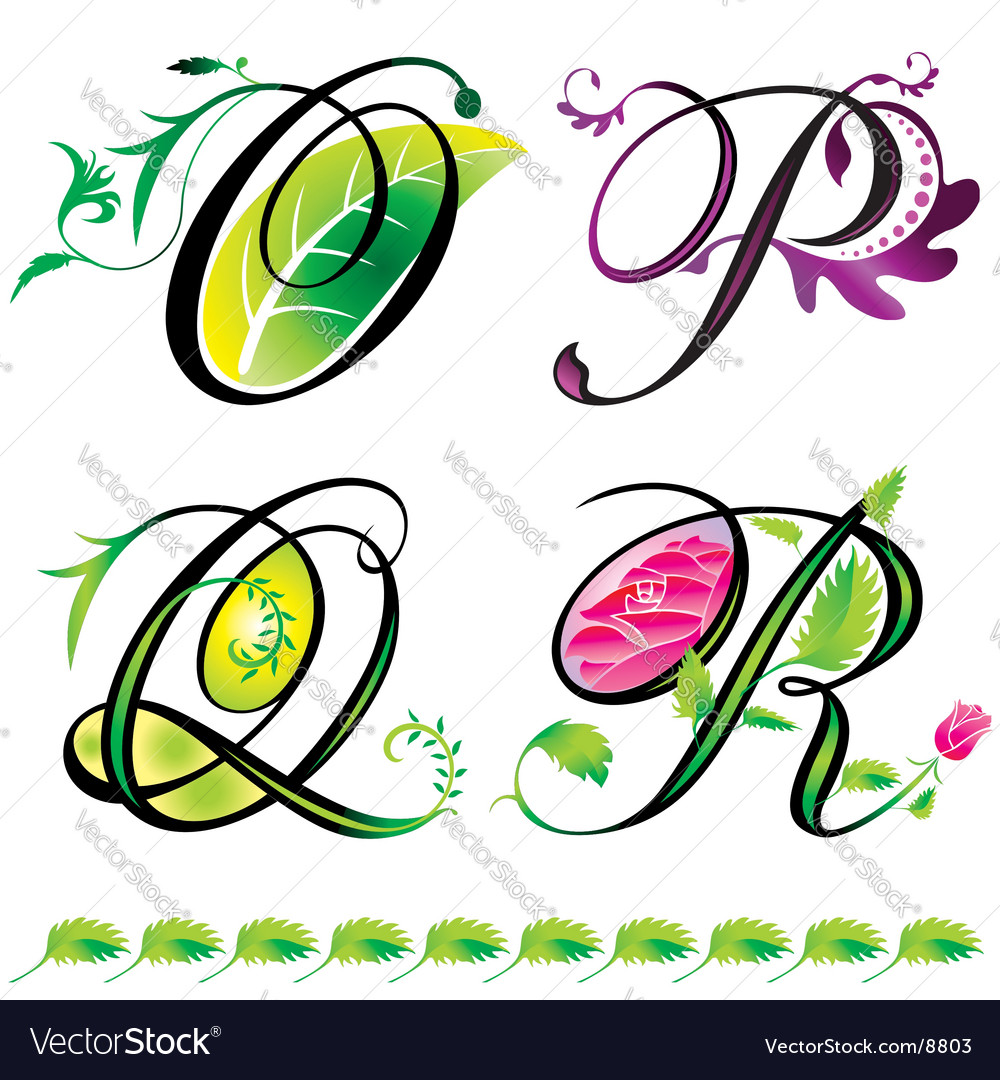 Elements o to r vector image