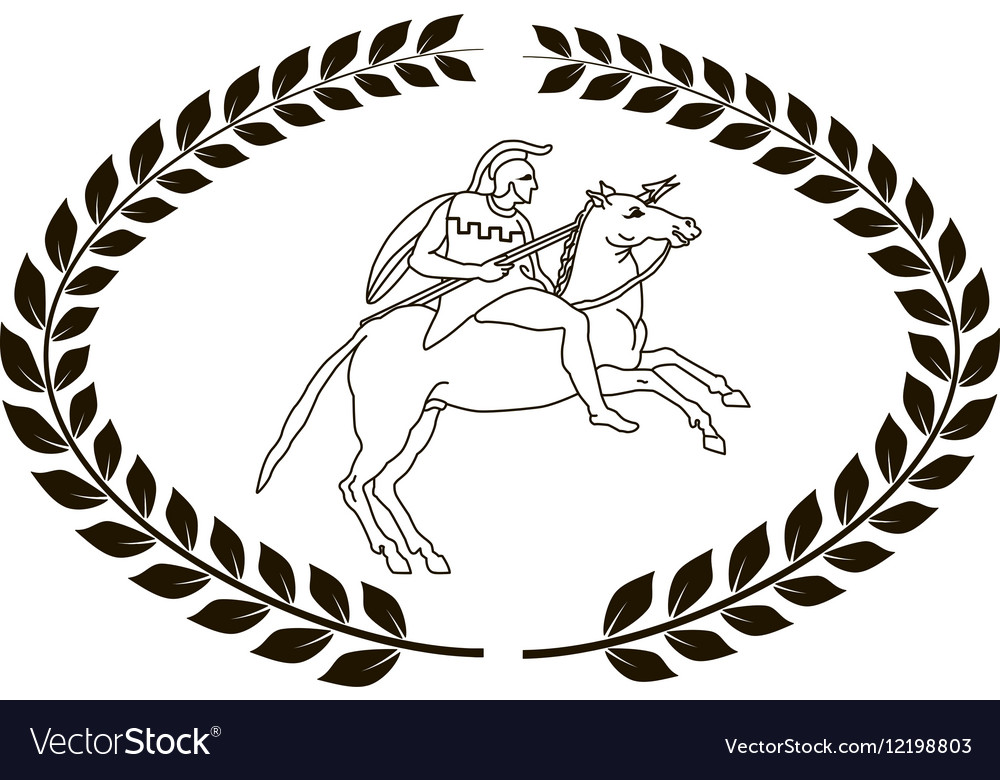 Hand drawn logo with the ancient Greek warrior