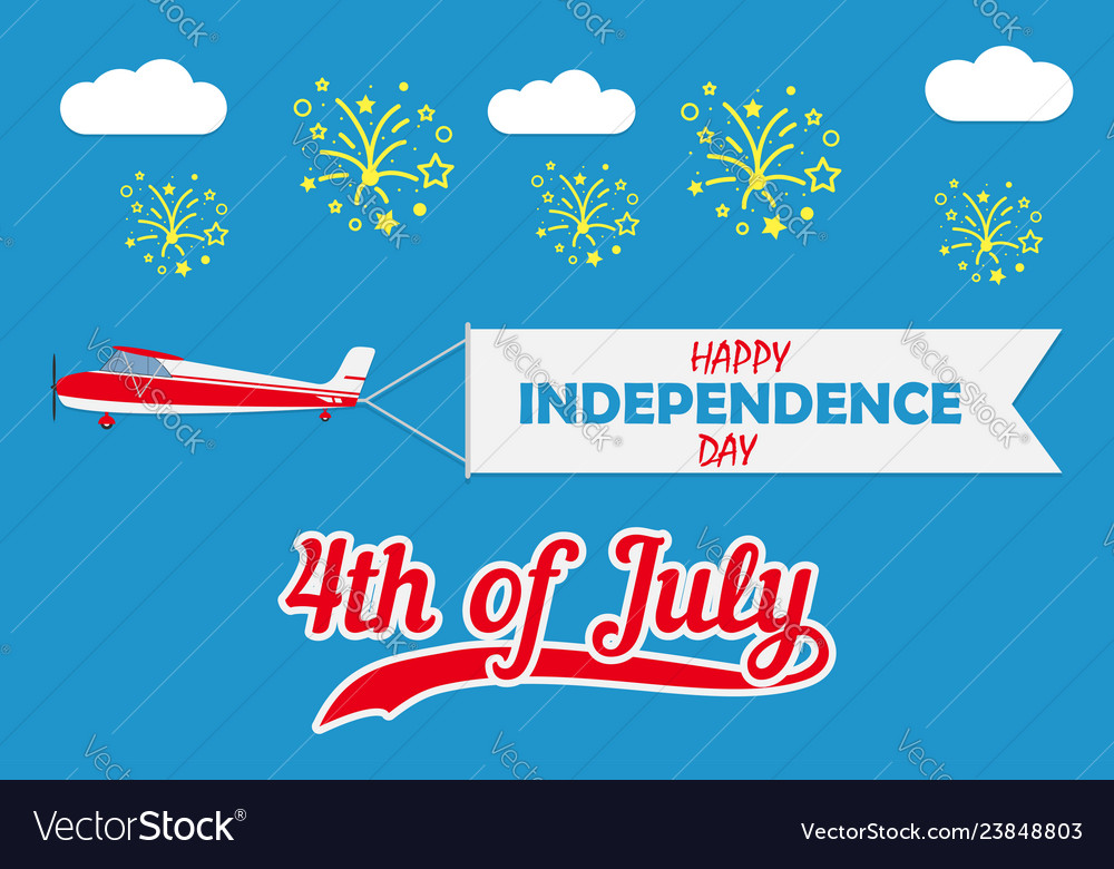 Happy independence day card with flying plane
