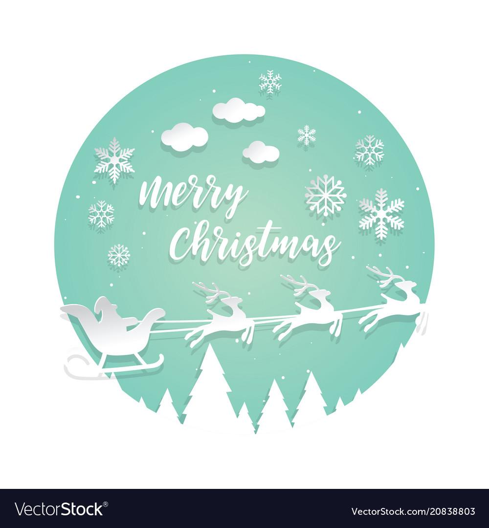 Paper cut santa of merry christmas