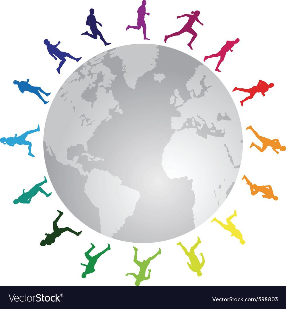 Rainbow running around the world