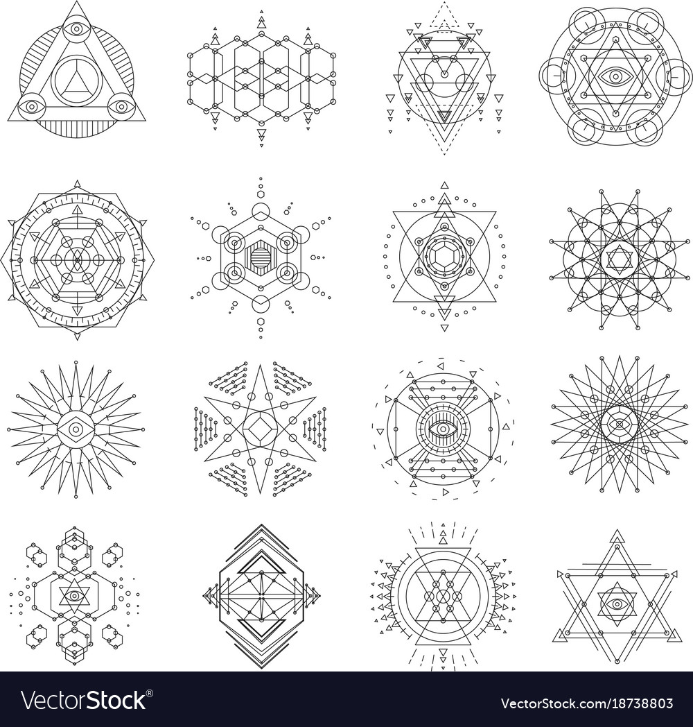 sacred geometry line art set royalty free vector image