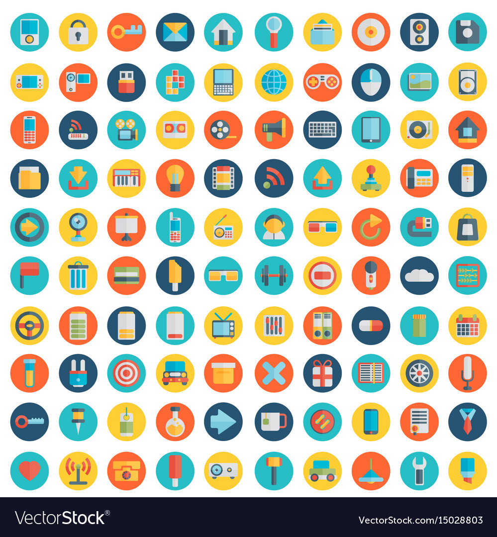 Set Of 100 Social Media Icons Flat Design Part Vector Image