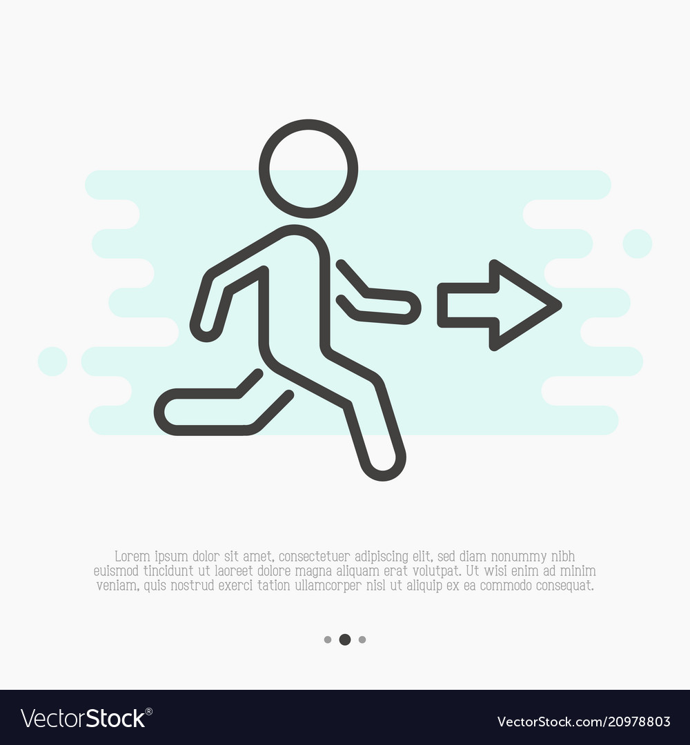 Thin line icon of exit running man and arrow