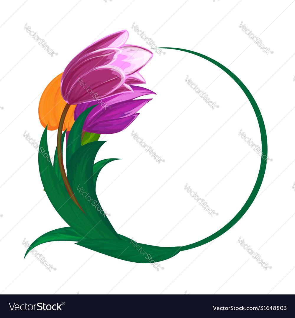 Tulips flower bouquet round frame or spring
