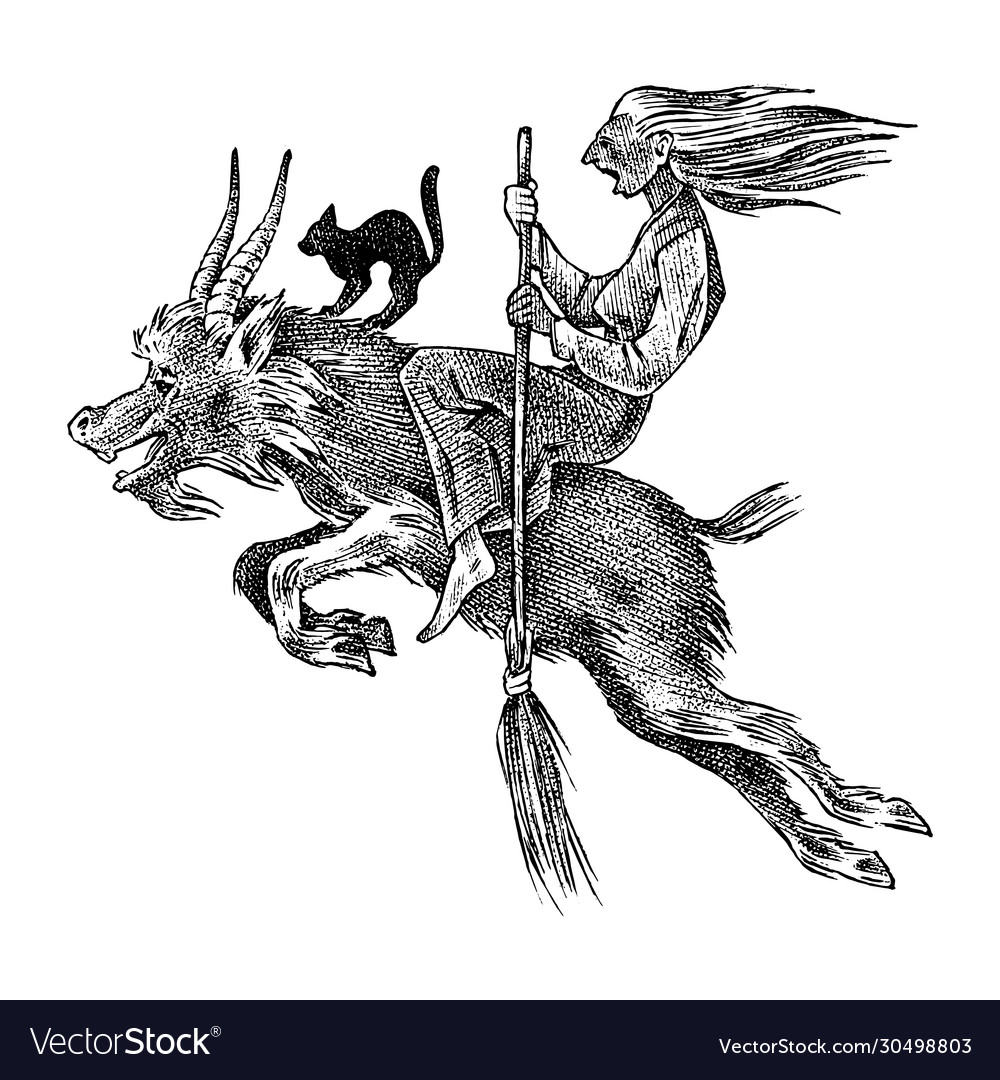 Witch flies with a broom and a goat ancient
