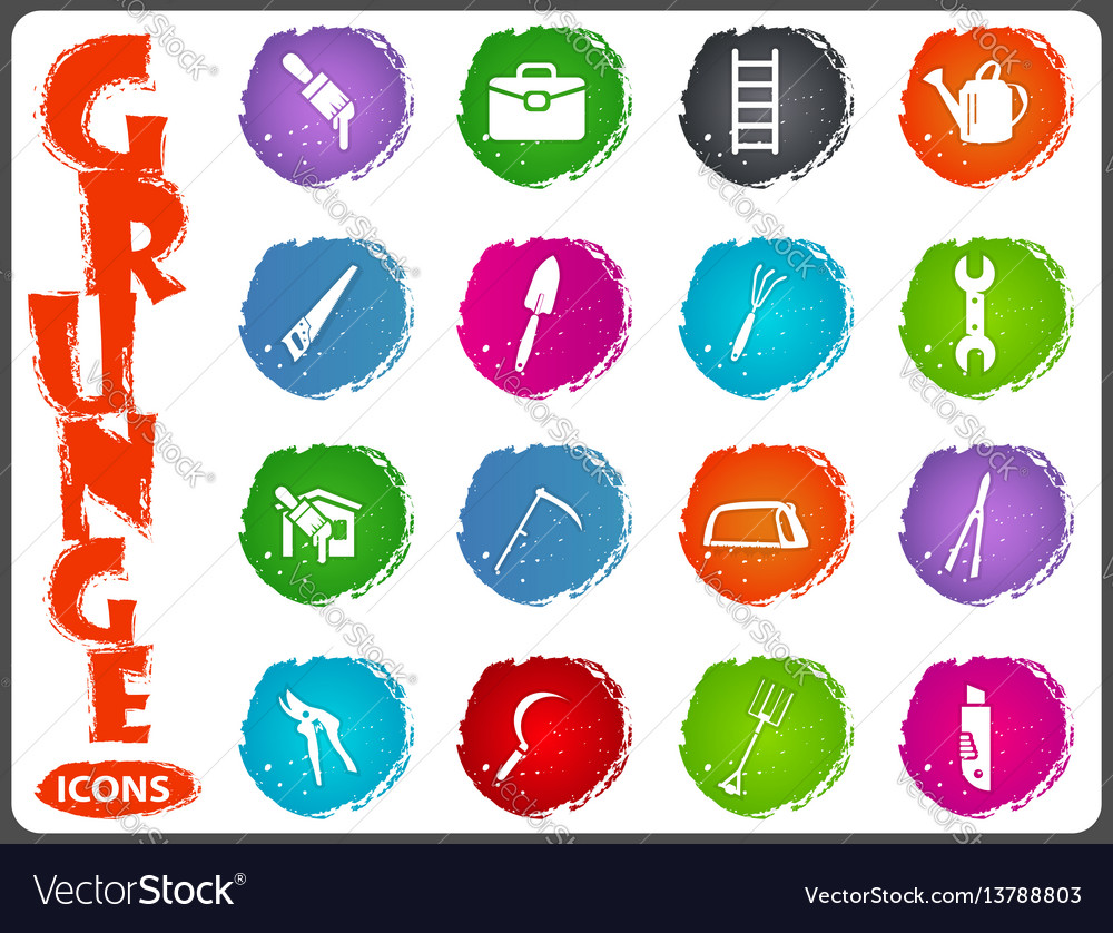 Work tools icons set in grunge style vector image