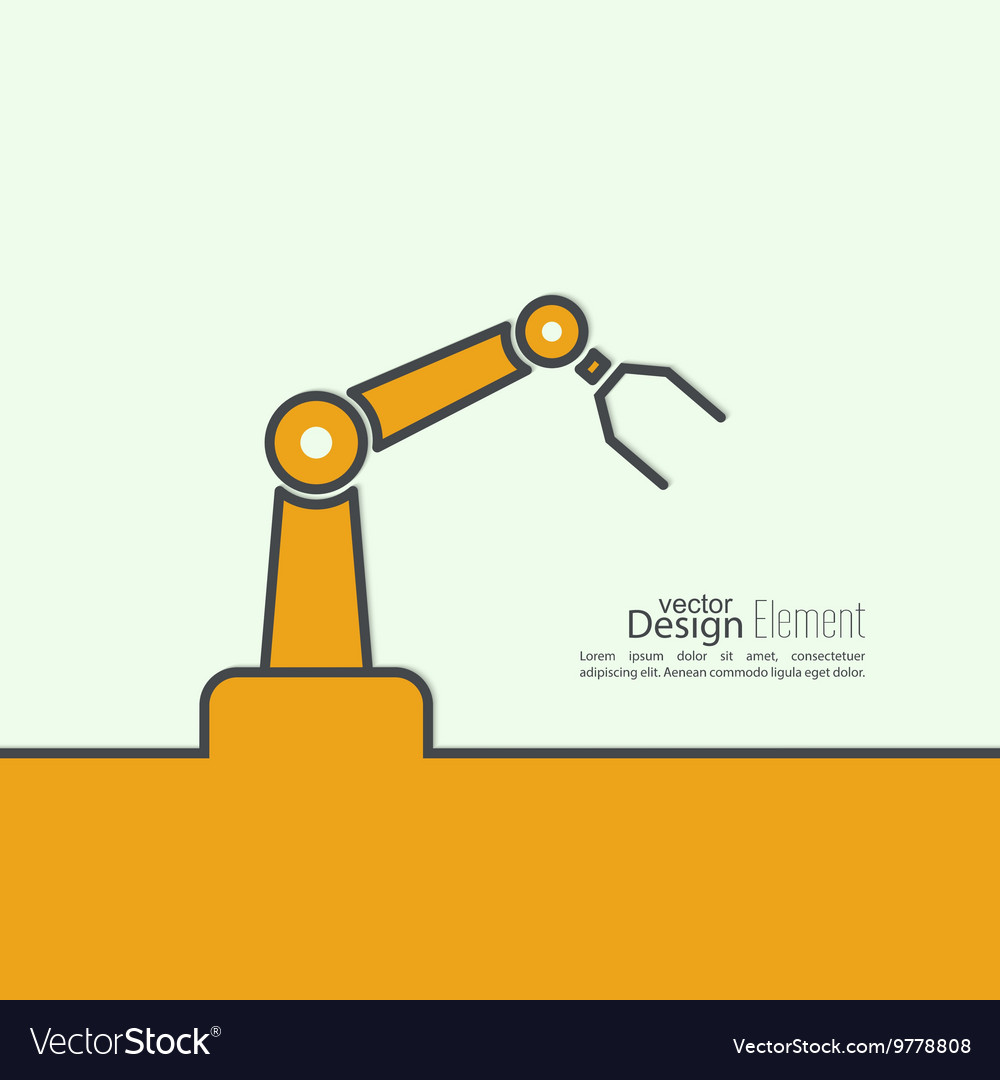 Automated robot arm vector image