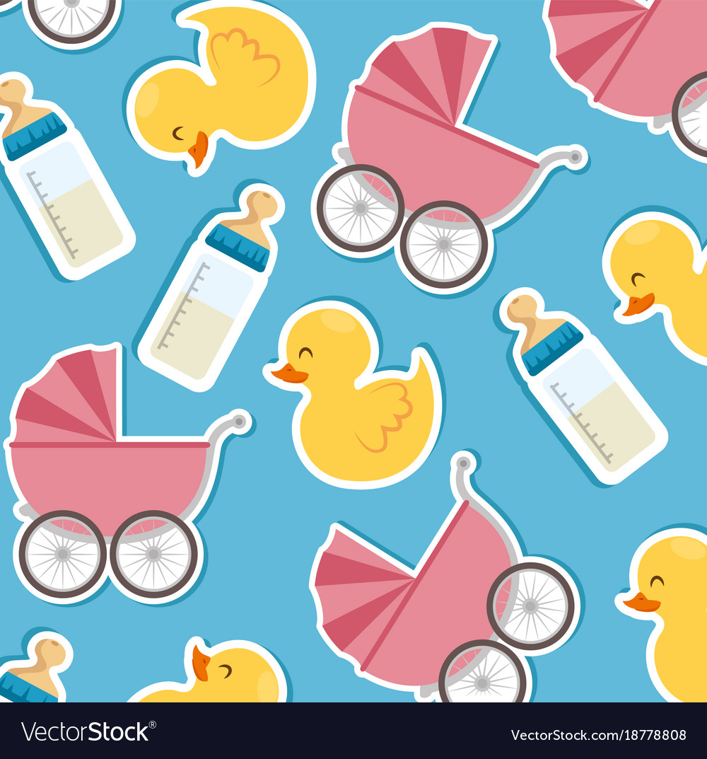 Baby shower seamless patterns vector image