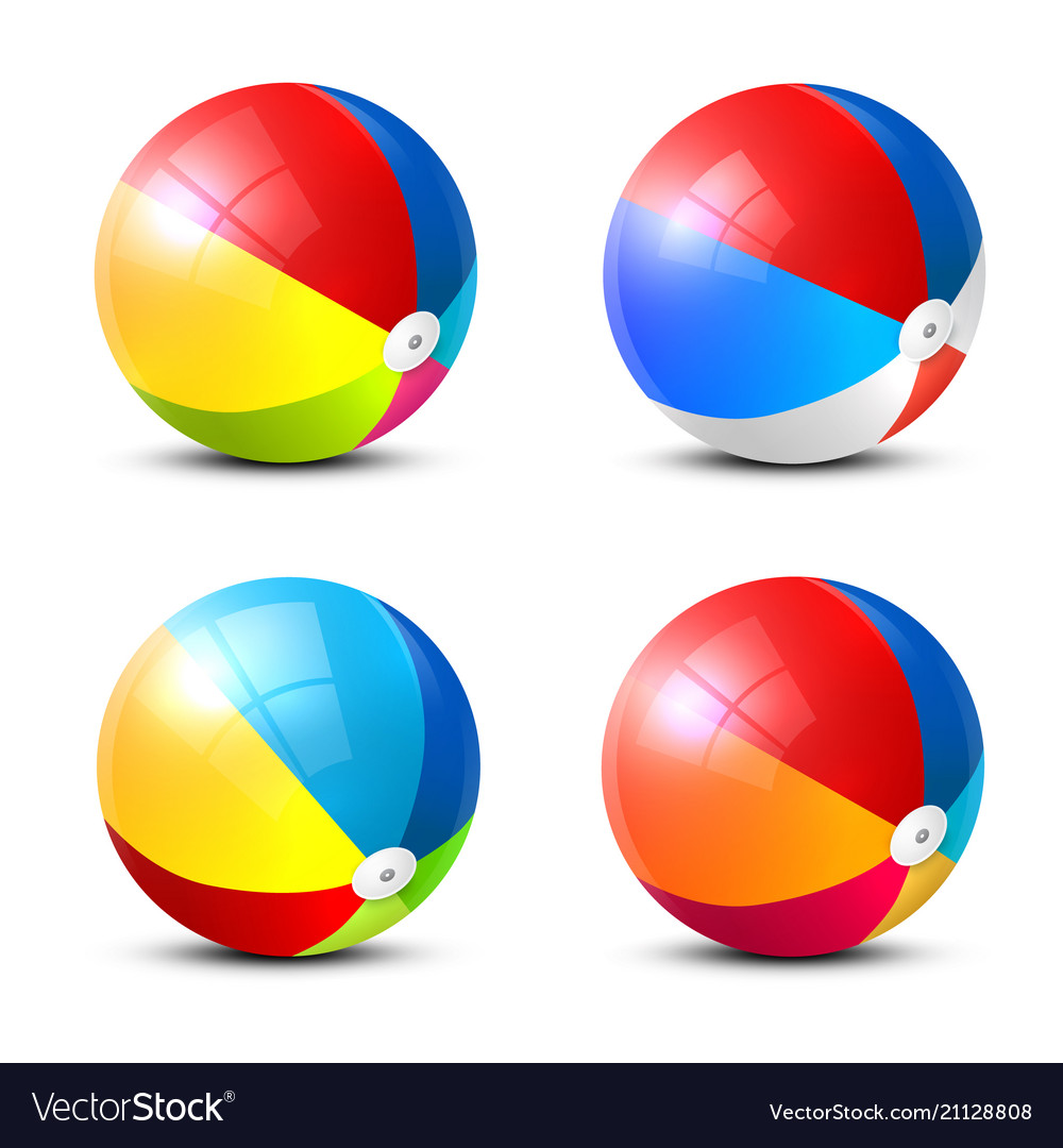 Beach ball icon colorful inflatable balls set