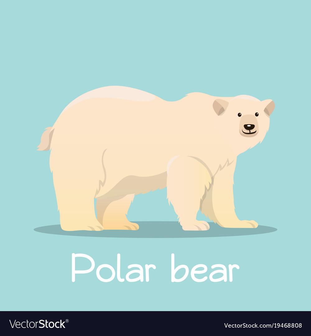 Cute polar bear in sea ice desian on sky blue