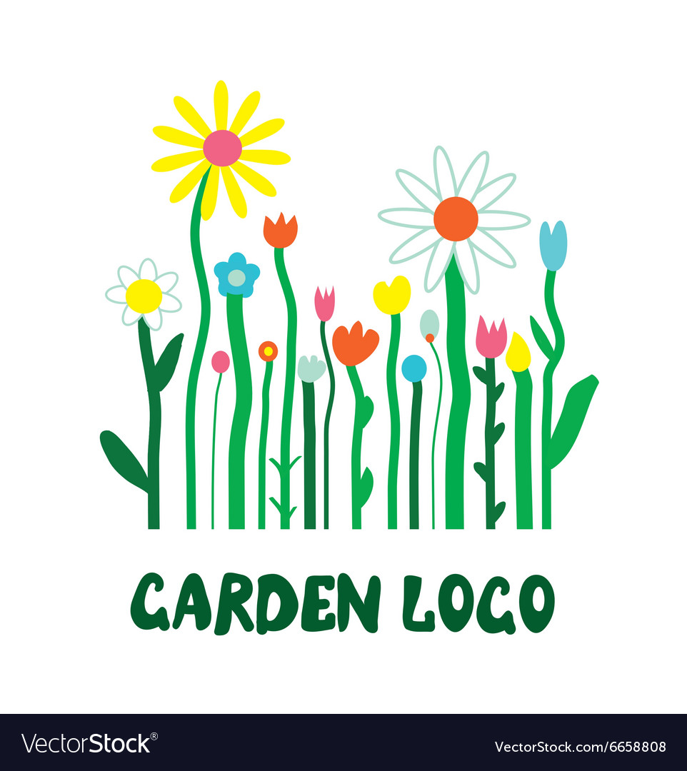 Garden logo with flowers - unusual simple design
