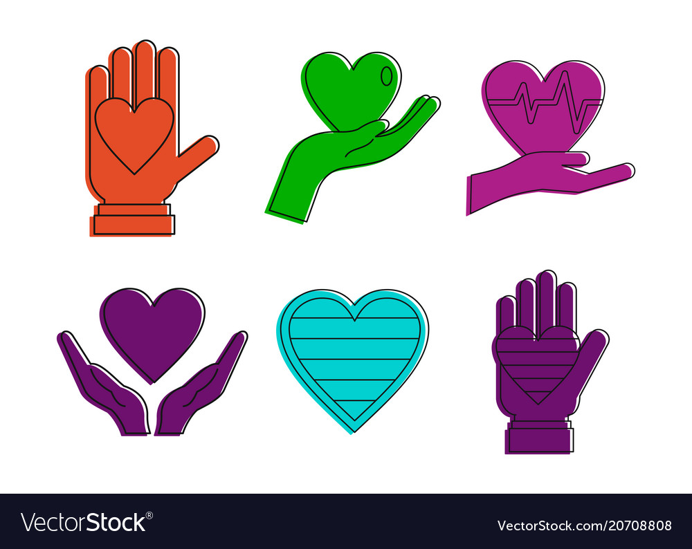 Heart in hand icon set color outline style
