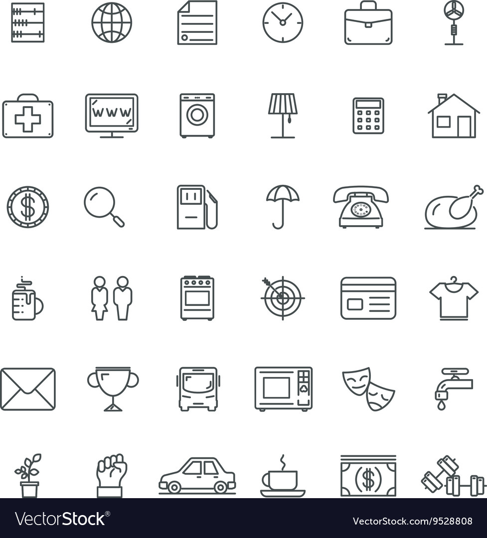 Linear icons Thin icon and signs outline symbol