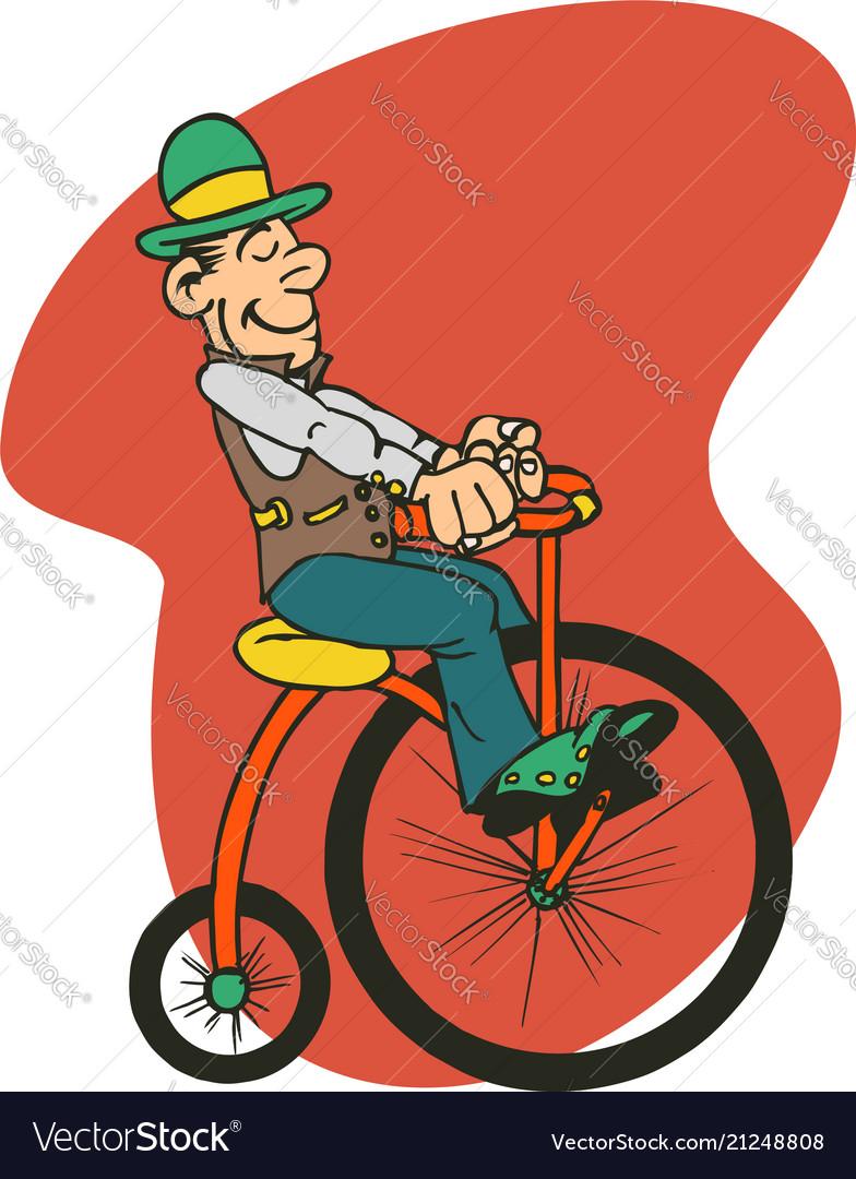 Man ride old bike cartoon