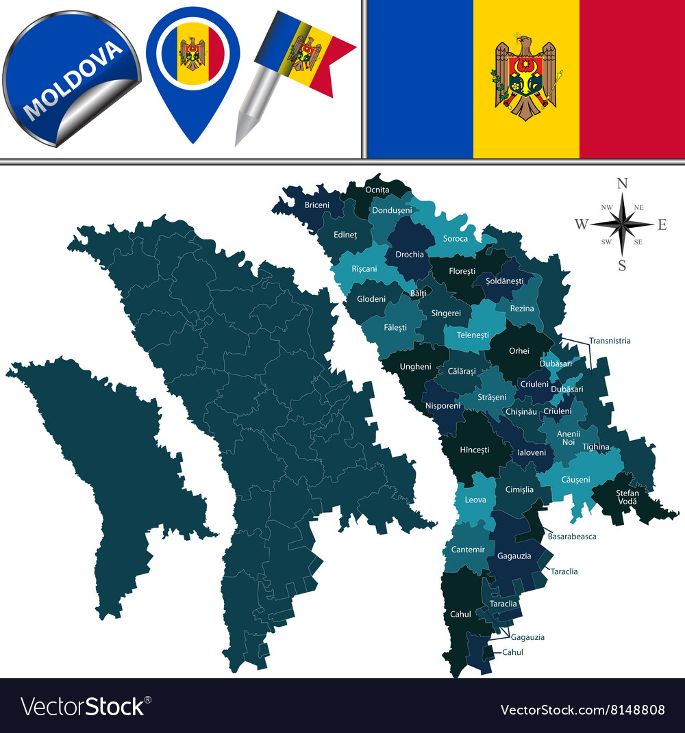 Moldova map with named divisions