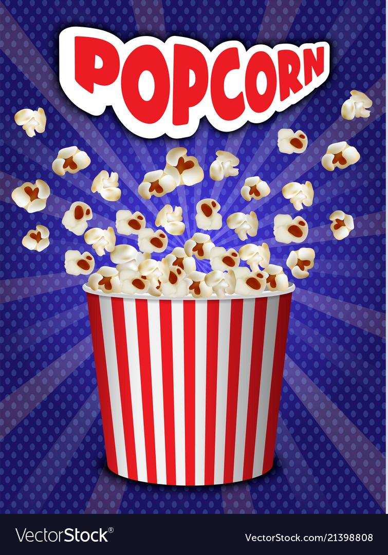 Popcorn explosion concept background realistic