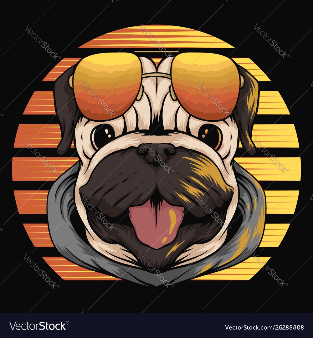 Pug dog retro sunset