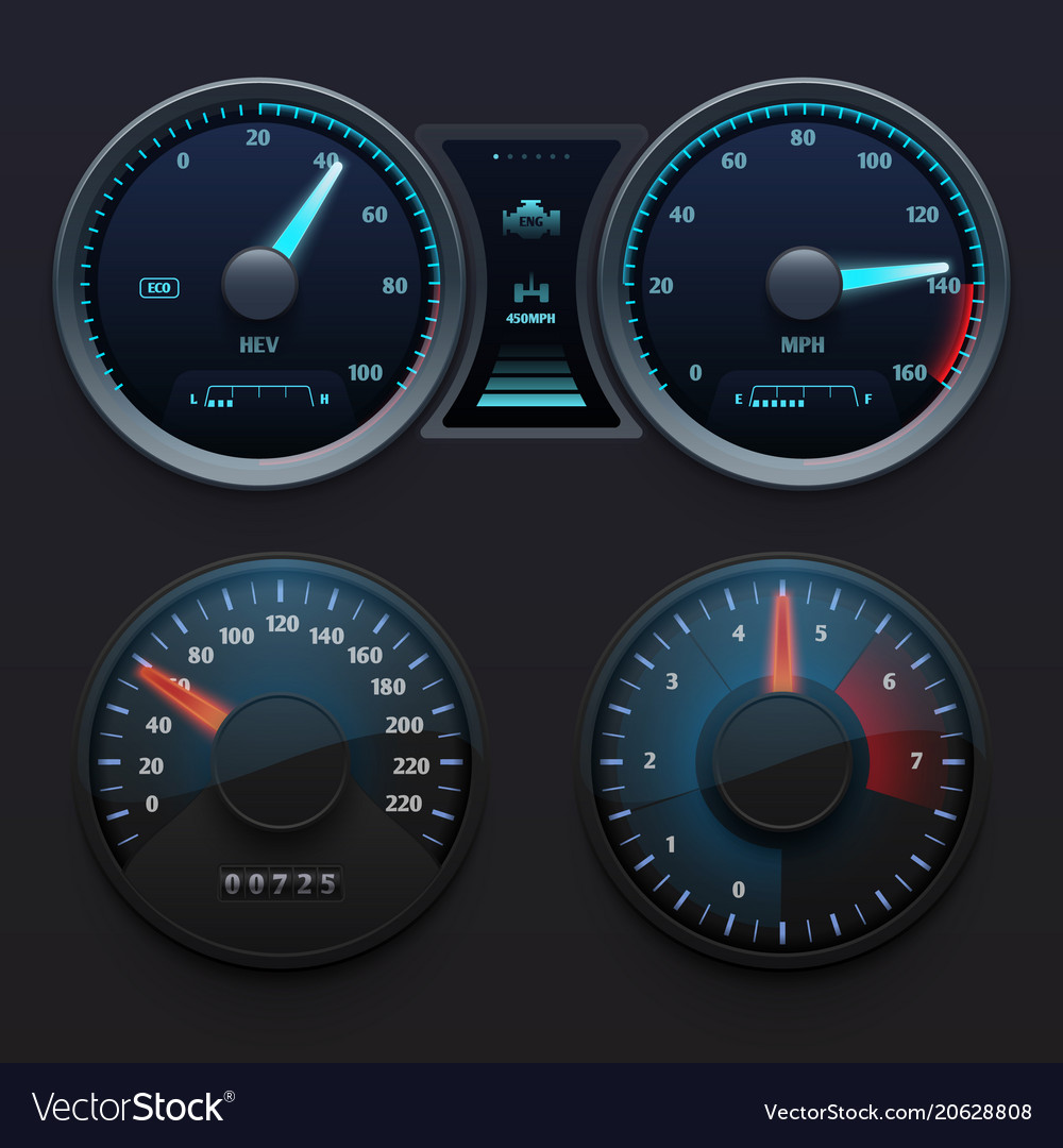 Realistic car dashboard speedometers with dial