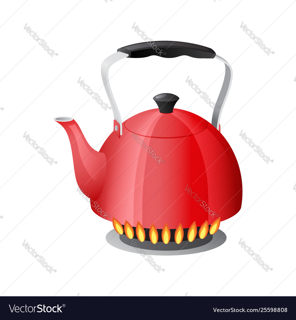 Red kettle with boiling water on kitchen stove