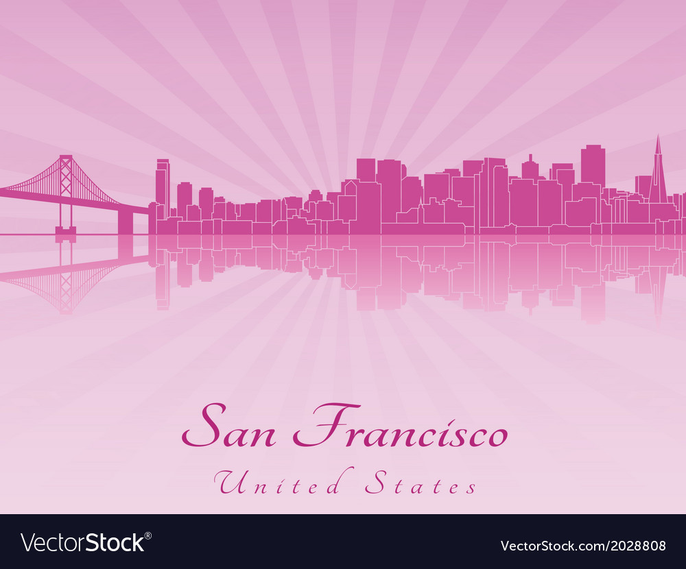 San Francisco skyline in purple radiant orchid