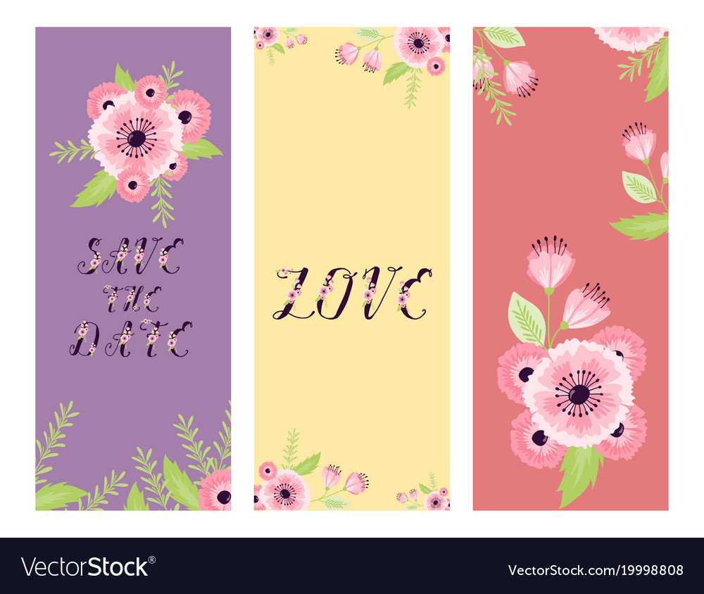 Save The Date Love Flower Valentine Day Royalty Free Vector