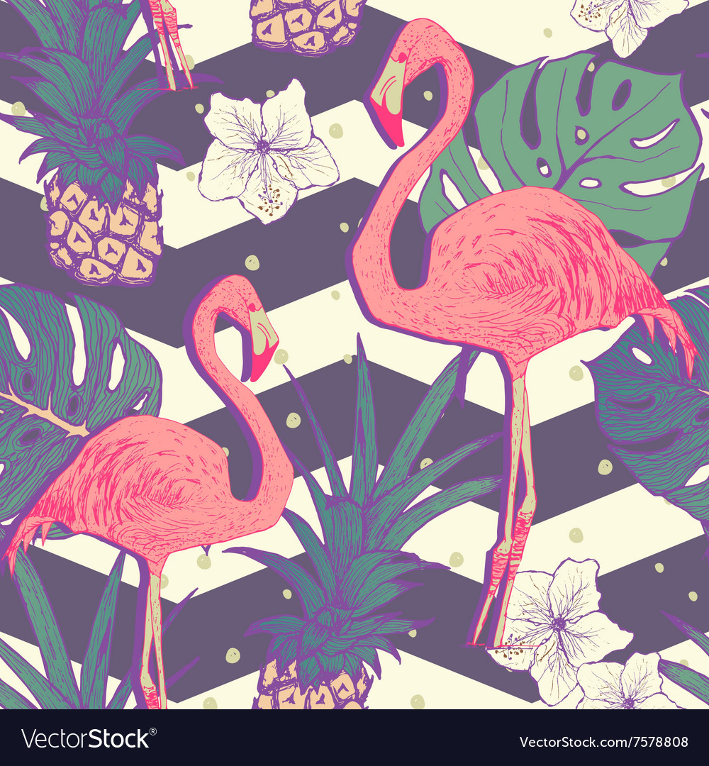 Seamless pattern with flamingo birds and