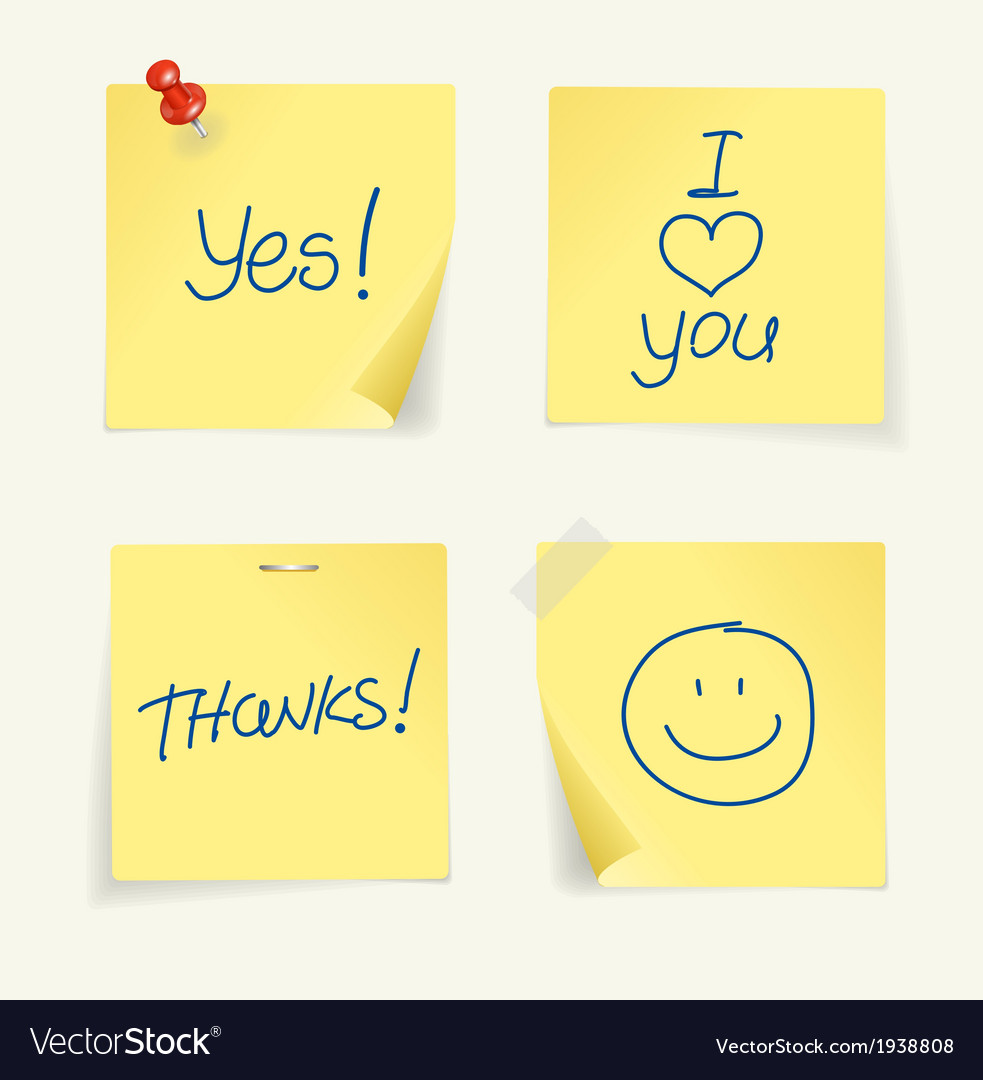 Set of yellow sticky Notes and text